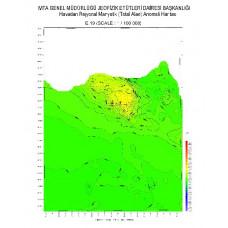 E 19 paftası 1/100.000 ölçekli Havadan Rejyonal Manyetik Haritası