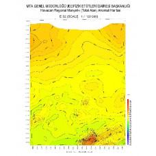 E 32 paftası 1/100.000 ölçekli Havadan Rejyonal Manyetik Haritası