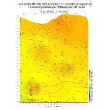 E 33 paftası 1/100.000 ölçekli Havadan Rejyonal Manyetik Haritası