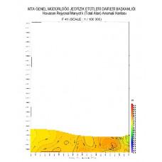 F 41 paftası 1/100.000 ölçekli Havadan Rejyonal Manyetik Haritası