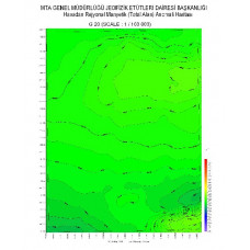 G 20 paftası 1/100.000 ölçekli Havadan Rejyonal Manyetik Haritası
