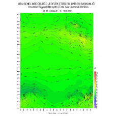 G 21 paftası 1/100.000 ölçekli Havadan Rejyonal Manyetik Haritası