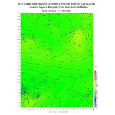 G 22 paftası 1/100.000 ölçekli Havadan Rejyonal Manyetik Haritası