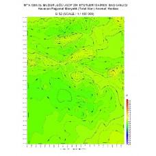 G 32 paftası 1/100.000 ölçekli Havadan Rejyonal Manyetik Haritası