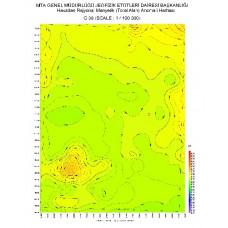 G 36 paftası 1/100.000 ölçekli Havadan Rejyonal Manyetik Haritası
