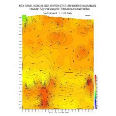 G 43 paftası 1/100.000 ölçekli Havadan Rejyonal Manyetik Haritası