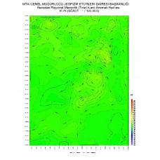H 29 paftası 1/100.000 ölçekli Havadan Rejyonal Manyetik Haritası