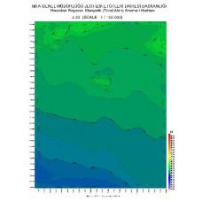 J 23 paftası 1/100.000 ölçekli Havadan Rejyonal Manyetik Haritası