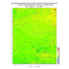 J 43 paftası 1/100.000 ölçekli Havadan Rejyonal Manyetik Haritası