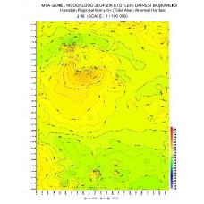 J 48 paftası 1/100.000 ölçekli Havadan Rejyonal Manyetik Haritası
