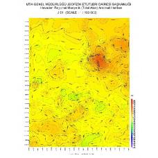 J 51 paftası 1/100.000 ölçekli Havadan Rejyonal Manyetik Haritası