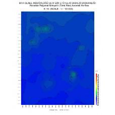 K 19 paftası 1/100.000 ölçekli Havadan Rejyonal Manyetik Haritası