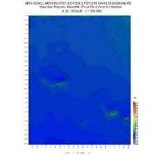 K 20 paftası 1/100.000 ölçekli Havadan Rejyonal Manyetik Haritası