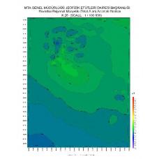 K 26 paftası 1/100.000 ölçekli Havadan Rejyonal Manyetik Haritası