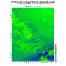 K 32 paftası 1/100.000 ölçekli Havadan Rejyonal Manyetik Haritası