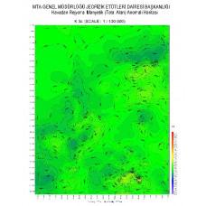 K 34 paftası 1/100.000 ölçekli Havadan Rejyonal Manyetik Haritası