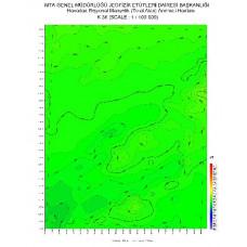 K 36 paftası 1/100.000 ölçekli Havadan Rejyonal Manyetik Haritası