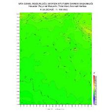 K 38 paftası 1/100.000 ölçekli Havadan Rejyonal Manyetik Haritası