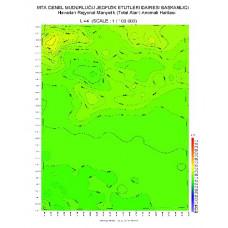 L 44 paftası 1/100.000 ölçekli Havadan Rejyonal Manyetik Haritası