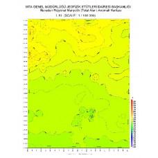 L 51 paftası 1/100.000 ölçekli Havadan Rejyonal Manyetik Haritası