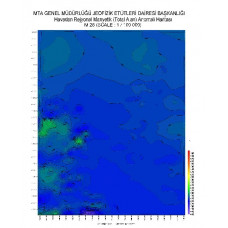 M 28 paftası 1/100.000 ölçekli Havadan Rejyonal Manyetik Haritası