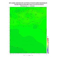 M 40 paftası 1/100.000 ölçekli Havadan Rejyonal Manyetik Haritası