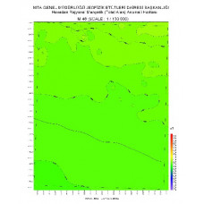 M 48 paftası 1/100.000 ölçekli Havadan Rejyonal Manyetik Haritası