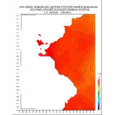 J 17 paftası 1/100.000 ölçekli Rejyonal Gravite (Bouguer Anomali) Haritası