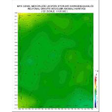 J 23 paftası 1/100.000 ölçekli Rejyonal Gravite (Bouguer Anomali) Haritası
