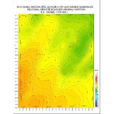 K 21 paftası 1/100.000 ölçekli Rejyonal Gravite (Bouguer Anomali) Haritası