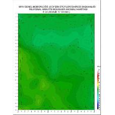 K 23 paftası 1/100.000 ölçekli Rejyonal Gravite (Bouguer Anomali) Haritası