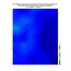 L 51 paftası 1/100.000 ölçekli Rejyonal Gravite (Bouguer Anomali) Haritası