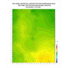 N 26 paftası 1/100.000 ölçekli Rejyonal Gravite (Bouguer Anomali) Haritası